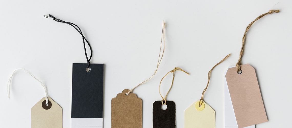 blank product tags with no logo or branding